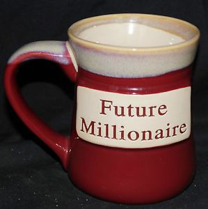 Giant Stoneware Mug Future Millionaire Pottery Coffee Mug Cup