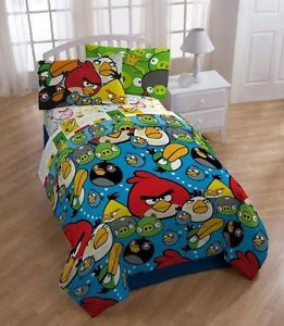 Angry Birds Comforter Twin Size 4 Pcs Sheet Pillow Set Licensed Bedding