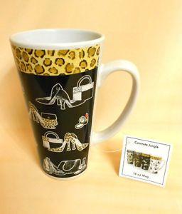 Tall Ceramic China Shoe Mug Coffee Cup Shoe Handbag Leopard Print 16 oz Mug