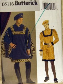 Historical Costume Pattern Mens Medieval Prince Outfit Tunic Hat szXL XXL XXXL