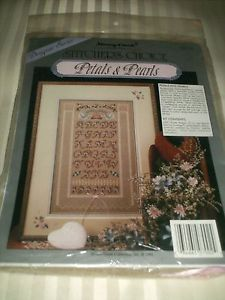"Stoney Creek Designer Cross Stitch Kit ""Petals Pearls"" Belfast Linen NIP"
