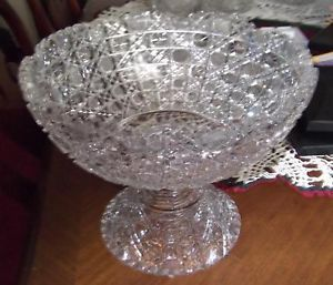 1900 Early American Lead Crystal Cut Glass Punch Bowl