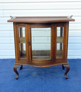 Beautiful Victorian Oak Bow Front Chocolate Cabinet Display Curio Cabinet C1900