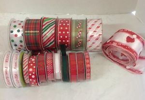 Christmas Ribbon Lot Craft Wreath Bow Supplies Wired Satin Grosgrain 100 Yards