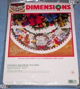 Dimensions Christmas Ingredients Counted Cross Stitch Christmas Tree Skirt Kit