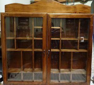 "Vintage Wood Curio Display Wall Shelf Cabinet 2 Glass Doors 16"" x 14"""