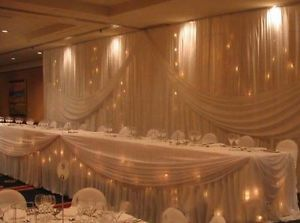 Wedding Backdrops and Table Skirting with Swag Drapery Curtain of Wedding Deco