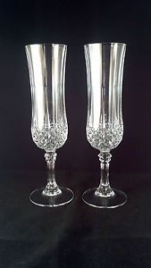 2 Cristal D' Arques Longchamp France 24 Lead Crystal Champagne Flutes Glasses