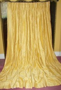 Vtg Paris Apt French Country Victorian Custom Patio Gold Silk Drapes Curtains