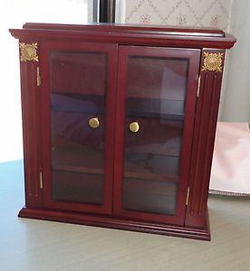 Wood Glass Small Curio Cabinet Wall Shelf Display Miniatures