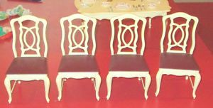 4 Old Vintage Marx Barbie Size Furniture Sindy Pedigree Dining Room Chairs Lot