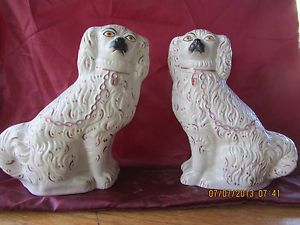 Antique Staffordshire King Charles Spaniel Figurines