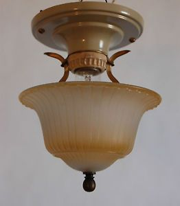 Petite Colonial Flush Mount Light Fixture Single Pressed Glass Shade Art Deco