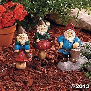 3 Gnomes Plant Stakes Garden Decor Front Yard Lawn Art Accent Spring Fairy Gift