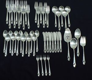 Mid Century Cool Frank Whiting Woodlily Sterling Silver Flatware Set w Servers