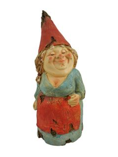 Wooden Look Bashful Lady Garden Gnome Statue