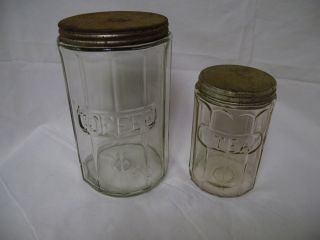 2 Antique Hoosier Cabinet Jars Coffee Tea w Orig Lids Nice