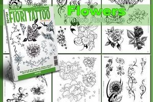 Fiori Flowers Tattoo Flash Design Book 64 Pages Cursive Writing Art Supply