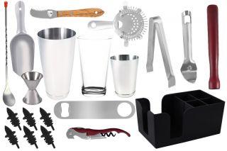 20 Piece Professional Bartender Kit Bartending Tools Cocktail Shaker Set