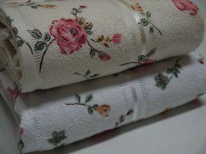 Printed Rose Cotton White Cream Face Hand Towel Bath Towel Bath Sheet Pink