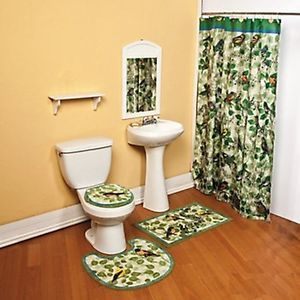 Green Blue Songbird Bird Musical Note Bath Shower Curtain Bathroom Rug Mat Decor