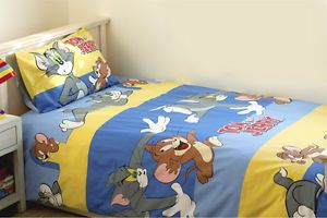 Tom Jerry Bedding Twin Duvet 3 PC Set Sheet Pillow Case  New