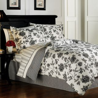 Chantal Flowers Black White Comforter Sheets Bed in A Bag Twin Size
