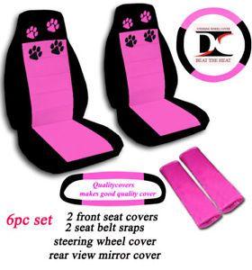 Car Seat Covers 6 Pcs Set Black and Pink Paw Prints Jeep Wrangler