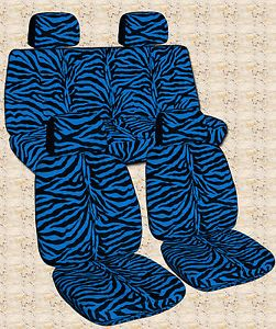 98 04 VW Beetle Front Rear Bench Car Seat Covers Zebra Blue Cool Looking Nice