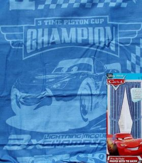 Disney Pixar Cars Blue Long Curtain Drapes Window Treatment New