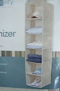Simplify 6 Shelf Closet Organizer Linen NIP