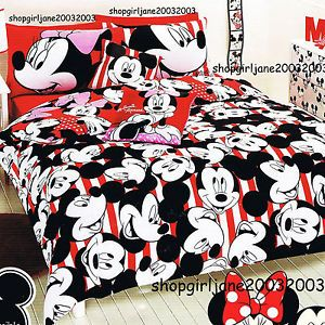 Mickey Minnie Mouse Disney Single Twin Bed Quilt DOONA Duvet Cover Set