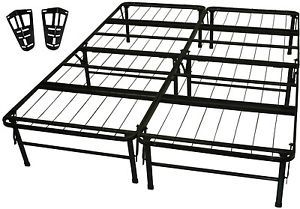 New Metal Platform Bed Frame with Headboard Brackets Twin Full Queen King