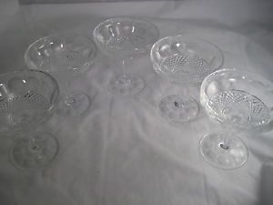 Vintage Cut Glass Crystal Champagne Cordial Glasses Footed Goblets Stems