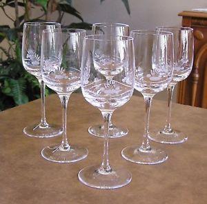 Vtg Bleikristall Crystal Set of 6 Etched Frosted Stemware Wine Glasses NIB
