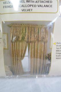 "New Vintage French Country Crushed Gold Velvet Fringed Curtain Drape Valance 84"""