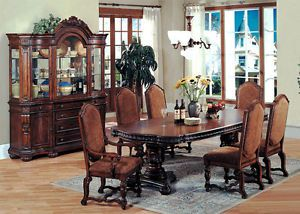 7pc Traditional Formal Brown Wood Dining Room Table Chairs Set Furniture
