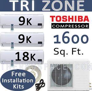 Tri Zone Ductless Mini Split Air Conditioner Heat Pump 36000 BTU 18K 9K 9K