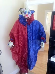 Evil Clown Red Blue Poseable Arms Hanging Halloween Party Prop 5 Feet Long