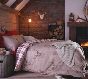Stag Natural Beige Deer Animal Print Double Duvet Quilt Cover Bedding Set