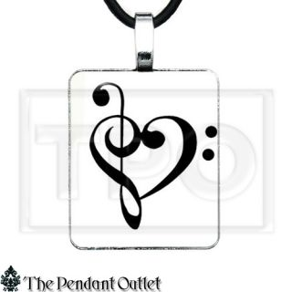 Treble Bass Clef Sheet Music Band Heart Piano Note Tattoo Charm Pendant Necklace