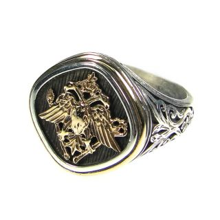 Gerochristo 2782 Solid Gold Silver Double Headed Eagle Byzantine Ring