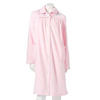 Croft Barrow Womens Pink Pleated Plush Long Duster Robe M L XL 1x Ret $44 NWT