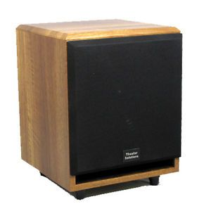 """Theater Solutions SUB10FM 10"""" Home Theater Sub Powered Mahogany 350W Subwoofer"""