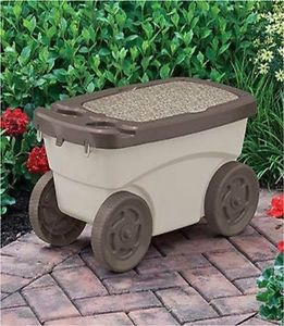 New Planting Gardening Cart Wagon Carrier Storage Stool Seat Chair Tool Box Bin