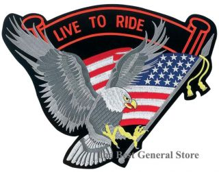 Wholesale Lot 12 Embroidered Live to Ride Eagle Flag Biker Patches Patch 12pc