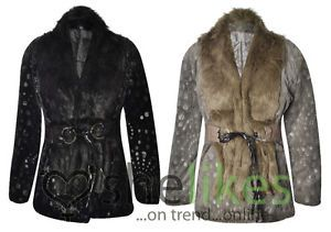 Womens Animal Foot Print Faux Fur Coat Ladies Belted Long Sleeve Winter Jacket