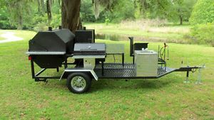 New Charcoal Gas BBQ Grill Stove Fryer Trailer Smoker
