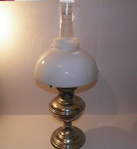 Vintage Aladdin Milk White Glass Shade Oil Lamp 12 Chicago Mantle Lamp Co