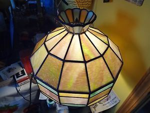 Antique Leaded Stained Glass Hanging Ornate Lamp Shade 73 Piece